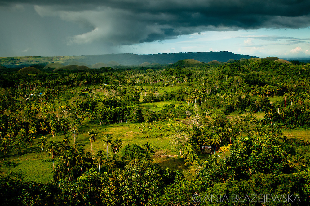 Philippines, Bohol. Chocolate Hills, one of the most famous Filipino tourist attractions before rain.