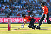 Wicket - Joe Root of England is runs out as Jonny Bairstow of England dives back in to his crease during the International T20 match between England and Australia at Edgbaston, Birmingham, United Kingdom on 27 June 2018. Picture by Graham Hunt.