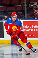 KELOWNA, BC - DECEMBER 18:  Artem Nikolaev #25 of Team Russia warms up with the puck against the Team Sweden at Prospera Place on December 18, 2018 in Kelowna, Canada. (Photo by Marissa Baecker/Getty Images)***Local Caption***