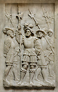 Halberdiers, relief on the base of the funerary monument of Francois I, 1494-1547, and Claude of France, 1499-1524, commissioned by Henri II and made by Pierre Bontemps in 1550, in the Basilique Saint-Denis, Paris, France. This monument originally came from the Abbaye des Hautes-Bruyires in Yvelines. The basilica is a large medieval 12th century Gothic abbey church and burial site of French kings from 10th - 18th centuries. Picture by Manuel Cohen