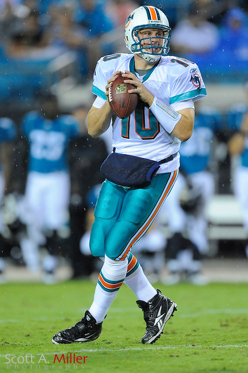 Aug. 21, 2010; Jacksonville, FL, USA; Miami Dolphins quarterback Chad Pennington (10) in action against the Jacksonville Jaguars at EverBank Field. ..©2010 Scott A. Miller