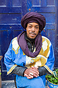 ESSAOUIRA, MOROCCO May 10th 2018 - Portrait of shop keeper in the Essaouira Medina, Southern Morocco