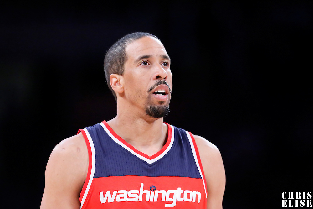 27 January 2015: Washington Wizards guard Andre Miller (24) rests during the Washington Wizards 98-92 victory over the Los Angeles Lakers, at the Staples Center, Los Angeles, California, USA.