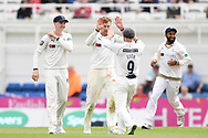 Joe Root of Yorkshire celebrates after taking the wicket of Dean Elgar during the Specsavers County C'ship Div One match at the Kia Oval, London<br /> Picture by Simon Dael/Focus Images Ltd 07866 555979<br /> 11/05/2018