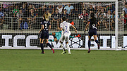 North Carolina Courage goalkeeper Katelyn Rowland (0) attempts to make a save on the only goal of the game from Olympique Lyonnais defender Lucy Bronze (2) during an International Champions Cup women's soccer game, Sunday, Aug. 18, 2019, in Cary, Olympique Lyonnais bested the North Carolina Courage 1-0 in the finals.  (Brian Villanueva/Image of Sport)