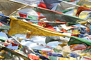 Buddhist prayer flags northern India near Leh, in the Himalayan mountains