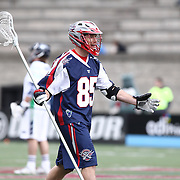 Mitch Belisle #85 of the Boston Cannons reacts to a call during the game at Harvard Stadium on April 27, 2014 in Boston, Massachusetts. (Photo by Elan Kawesch)