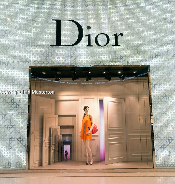 Dior boutique window display at The Dubai Mall in Dubai United Arab Emirates