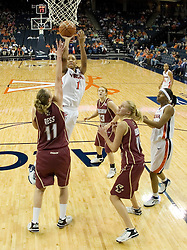 UVA's Lyndra Littles (1) shoots over BC's Kathrin Ress (11).  The Cavaliers defeated the Eagles 65-63 in overtime at the John Paul Jones Arena in Charlottesville, VA on January 14, 2007.