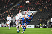 Rochdale forward Aaron Wilbraham (18) battles for possession  with Milton Keynes Dons midfielder Alex Gilbey (8)during the EFL Sky Bet League 1 match between Milton Keynes Dons and Rochdale at stadium:mk, Milton Keynes, England on 28 January 2020.