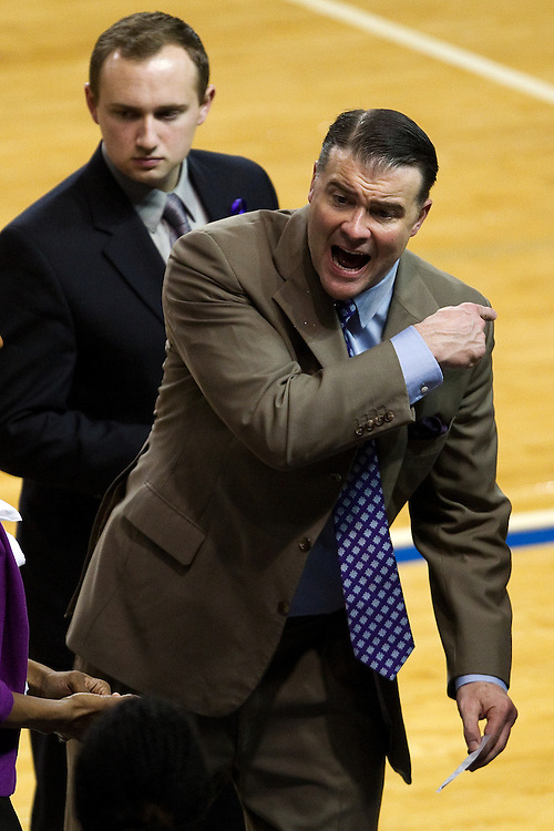 UK head coach Matthew Mitchell encourages players in the second half. The University of Kentucky Women hosted Mississippi State University Thursday, Jan. 17, 2013 at Memorial Coliseum in Lexington. Photo by Jonathan Palmer
