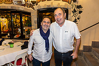 Bar & restaurant proprietors, Alfonso Lorente, El Candil, left, and John Hogan, Hogan Stand, San Pedro de Alcantara, Marbella, Spain, February, 2020, 202002112154<br />