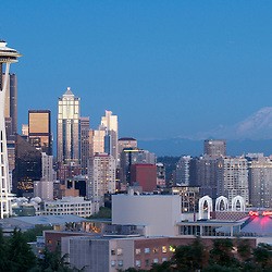 An evening view of the Seattle skyline and Mt. Rainier from Kerry Park in the Queen Anne neigborhood of Seattle, Washington.