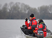 LONDON, ENGLAND - Thursday  13/12/2012; Cambridge University coaching launch, Chief Coach, videoing. during the annual Varsity trial 8's for The BNY Melon University Boat Race over the Championship Course [Putney to Mortlake]. The River Thames, England. (Mandatory Credit/ Peter  Spurrier/Intersport Images]
