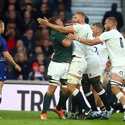 LONDON, ENGLAND - NOVEMBER 03: Duane Vermeulen of South Africa and George Kruis of England off the ball during the Castle Lager Outgoing Tour match between England and South Africa at Twickenham Stadium on November 03, 2018 in London, England. (Photo by Steve Haag/Gallo Images)