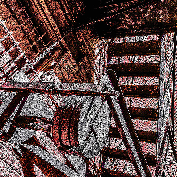Counterweights on a fire escape, Ybor City, Florida