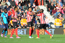 Southampton's Sadio Mane celebrates his goal with Southampton's Nathaniel Clyne - Photo mandatory by-line: Dougie Allward/JMP - Mobile: 07966 386802 - 25/10/2014 - SPORT - Football - Southampton - ST Mary's Stadium - Southampton v Stoke - Barclays Premier League