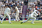 Wicket - Alastair Cook of England who is retiring from international cricket at the end of the series, is caught behind by KL Rahul of India from the bowling of Jasprit Bumrah of India during the 3rd day of the 4th SpecSavers International Test Match 2018 match between England and India at the Ageas Bowl, Southampton, United Kingdom on 1 September 2018.