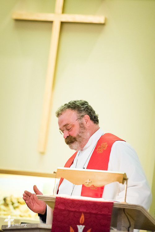 "The Rev. Dr. Matthew C. Harrison, president of The Lutheran Church–Missouri Synod, gives a sermon on Sunday, August 9, 2015, during a ""Day of Thanksgiving and Rededication""  at St. John's Lutheran Church in New Minden, Ill. Nearly two years ago, a tornado damaged the church and surrounding homes. LCMS Communications/Erik M. Lunsford"