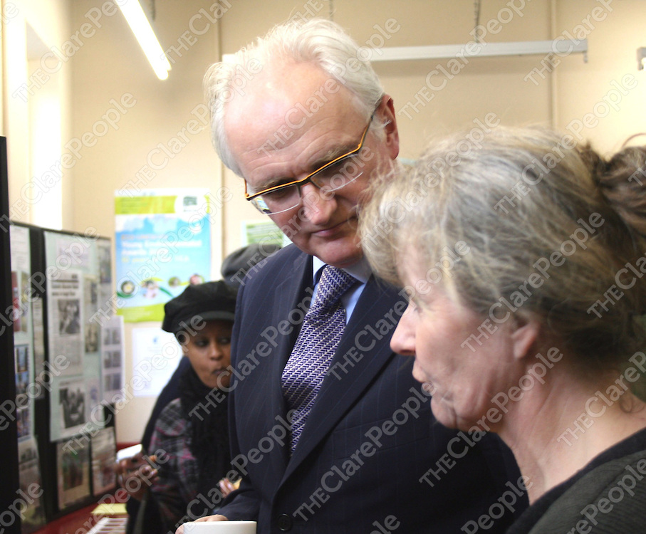 Biologist Sabine Springer explains some points of the winning water quality project to Minister Gormley when he visited Ennistymon Vocational School on Friday..