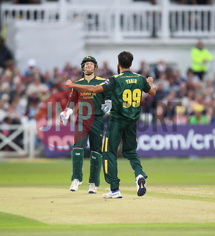 Imran Tahir of Notts Outlaws celebrates taking the wicket of Mark Cosgrove of Leicestershire Foxes (Not Pictured) - Mandatory by-line: Jack Phillips/JMP - 29/07/2016 - CRICKET - Trent Bridge - Nottingham, United Kingdom - Nottingham Outlaws v Leicester Foxes - Natwest T20 Blast