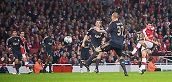 LONDON, ENGLAND - Wednesday, October 28, 2009: Arsenal's Fran Merida scores the opening goal against Liverpool during the League Cup 4th Round match at Emirates Stadium. (Photo by David Rawcliffe/Propaganda)