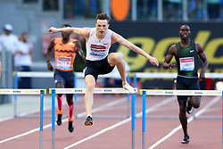 May 31, 2018 - Rome, Italy - Karsten Warholm (NOR) competes in 400m hurdles men during Golden Gala Iaaf Diamond League Rome 2018 at Olimpico Stadium in Rome, Italy on May 31, 2018. (Credit Image: © Matteo Ciambelli/NurPhoto via ZUMA Press)