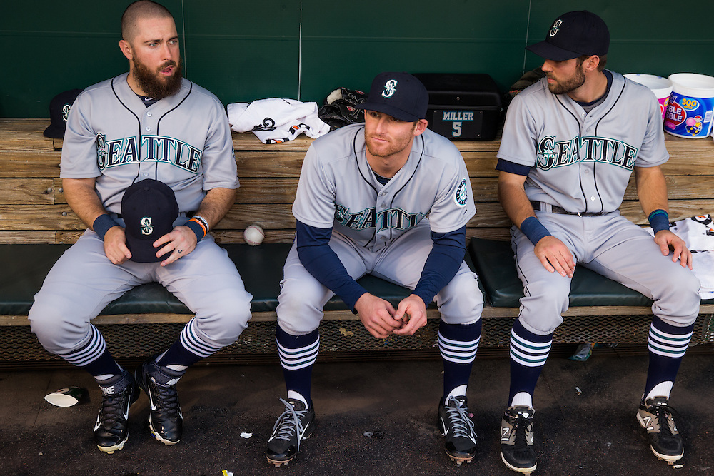 BALTIMORE, MD - MAY 20:  Members of the Seattle Mariners look on before the game against the Baltimore Orioles at Oriole Park at Camden Yards on May 20, 2015 in Baltimore, Maryland. (Photo by Rob Tringali) *** Local Caption ***
