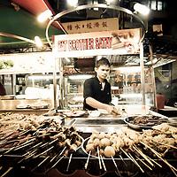 Satay vendor in outdoor market, Bukit Binthang, Kuala Lumpur