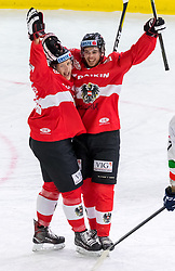 12.04.2018, Tiroler Wasserkraft Arena, Innsbruck, AUT, Eishockey Testspiel, Österreich vs Italien, während dem Eishockey Testspiel Österreich vs Italien am Donnerstag, 12. April 2018 in Innsbruck, im Bild Torjubel Österreich nach dem 1:0 // during the International Icehockey Friendly match between Austria and Italy at the Tiroler Wasserkraft Arena in Innsbruck, Austria on 2018/04/12. EXPA Pictures © 2018, PhotoCredit: EXPA/ Jakob Gruber