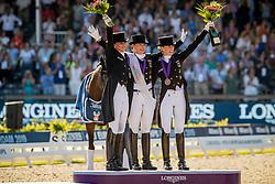 Podium Freestyle, Werth Isabell, Schneider Dorothee, von Bredow-Werndl Jessica<br /> European Championship Dressage<br /> Rotterdam 2019<br /> © Hippo Foto - Dirk Caremans