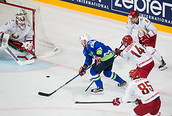 Kevin Lalande of Belarus vs Jan Mursak of Slovenia during the 2017 IIHF Men's World Championship group B Ice hockey match between National Teams of Slovenia and Belarus, on May 13, 2017 in AccorHotels Arena in Paris, France. Photo by Vid Ponikvar / Sportida