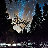 Stars above Yosemite and the Merced River.  © John McBrayer