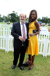 SIR SALMAN RUSHDIE and AITA IGHODARO at the 2008 Veuve Clicquot Gold Cup polo final at Cowdray Park Polo Club, Midhurst, West Sussex on 20th July 2008.<br /> <br /> NON EXCLUSIVE - WORLD RIGHTS