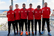 Sopot, Poland - 2018 April 06: (L-R) Radoslaw Szymanik - captain national team and Daniel Michalski and Michal Przysiezny Kamil Majchrzak and Marcin Matkowski and Lukasz Kubot all from Poland pose to the picture while Meet & Greet event one day before Poland v Zimbabwe Tie Group 2, Europe/Africa Second Round of Davis Cup by BNP Paribas at 100 years of Sopot Hall on April 06, 2018 in Sopot, Poland.<br /> <br /> Mandatory credit:<br /> Photo by © Adam Nurkiewicz / Mediasport<br /> <br /> Adam Nurkiewicz declares that he has no rights to the image of people at the photographs of his authorship.<br /> <br /> Picture also available in RAW (NEF) or TIFF format on special request.<br /> <br /> Any editorial, commercial or promotional use requires written permission from the author of image.