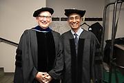 "The 2019 Distinguished Professor, Steve Evans,(Left) poses for a photo with honorary degree recipient Venkatraman ""Venki"" Ramakrishnan. Photo by Ben Siegel"