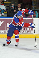 KELOWNA, CANADA - FEBRUARY 15: Curtis Lazar #27 of the Edmonton OIl Kings skates on the ice with the puck against the Kelowna Rockets on February 15, 2012 at Prospera Place in Kelowna, British Columbia, Canada (Photo by Marissa Baecker/Getty Images) *** Local Caption *** Curtis Lazar;