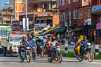 Traffic, Bhaktapur, Kathmandu Valley, Nepal.
