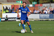 AFC Wimbledon midfielder Scott Wagstaff (7) dribbling during the EFL Sky Bet League 1 match between AFC Wimbledon and Bristol Rovers at the Cherry Red Records Stadium, Kingston, England on 21 September 2019.