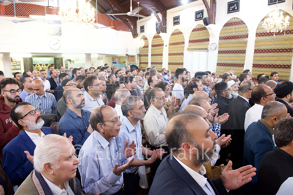 Ali Jafari's funeral prayers  <br /> Mr Ali Jafari, aged 82,  died following the fire at Grenfell Tower,<br /> 14th July 2017 <br /> <br /> Funeral Prayers at the Hussaini Islamic Mission, Thornbury Road, Isleworth, <br /> <br /> <br /> Photograph by Elliott Franks <br /> Image licensed to Elliott Franks Photography Services