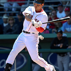 March 12, 2011; Fort Myers, FL, USA; Boston Red Sox left fielder Jacoby Ellsbury (2) during a spring training exhibition game against the Florida Marlins at City of Palms Park. The Red Sox defeated the Marlins 9-2.  Mandatory Credit: Derick E. Hingle