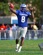 Hampton quarterback David Legree threw for 141 yards in their 28 - 14 loss to Old Dominion at Armstrong Stadium on the campus of Hampton University in Hampton, Virginia.  (Photo by Mark W. Sutton)