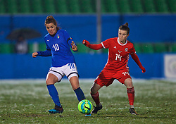 CESENA, ITALY - Tuesday, January 22, 2019: Italy's Christiana Girelli (L) and Wales' Hayley Ladd during the International Friendly between Italy and Wales at the Stadio Dino Manuzzi. (Pic by David Rawcliffe/Propaganda)