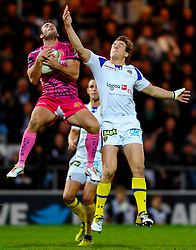 Exeter Chiefs Full Back (#15) Luke Arscott wins the high ball from Clermont Outside Centre (#13) Aurelien Rougerie during the first half of the match - Photo mandatory by-line: Rogan Thomson/JMP - Tel: Mobile: 07966 386802 20/10/2012 - SPORT - RUGBY - Sandy Park Stadium - Exeter. Exeter Chiefs v ASM Clermont Auvergne - Heineken Cup Round 2