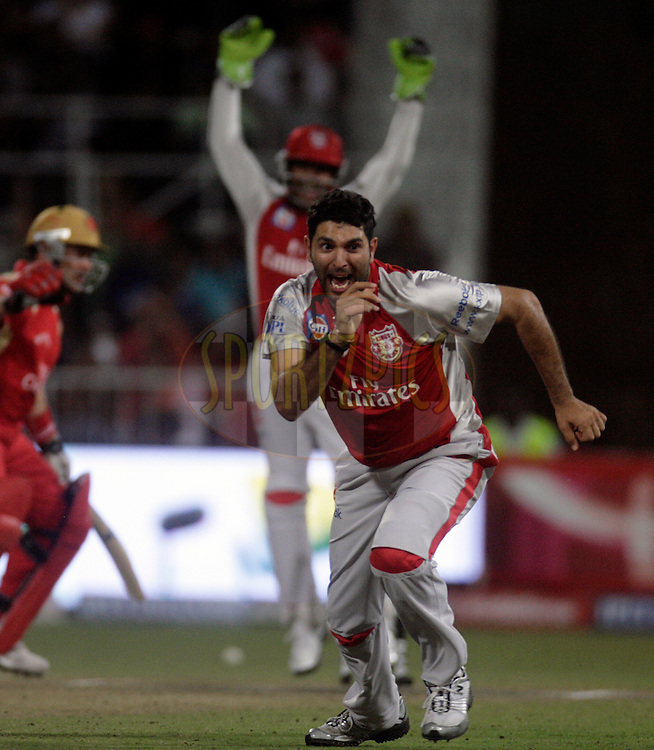 DURBAN, SOUTH AFRICA - 1 May 2009. Yuvraj Singh celebrates his hattrick during the IPL Season 2 match between Kings X1 Punjab and the Royal Challengers Bangalore held at Sahara Stadium Kingsmead, Durban, South Africa..