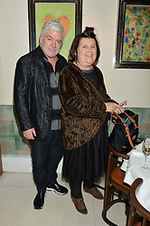 TIM BLANKS and SUZY MENKES at a dinner to celebrate the publication of Obsessive Creative by Collette Dinnigan hosted by Charlotte Stockdale and Marc Newson held at Mr Chow, Knightsbridge, London on 9th February 2015.