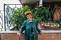 PIOPPI, ITALY - 14 SEPTEMBER 2018: (L-R) Giovanna (87) poses for a portrait in Pioppi, Italy, on September 14th 2018.<br /> <br /> To understand how people can live longer throughout the world, researchers at University of California, San Diego School of Medicine have teamed up with colleagues at University of Rome La Sapienza to study a group of 300 citizens, all over 100 years old, living in Acciaroli (Pollica), a remote Italian village nestled between the ocean and mountains in Cilento, southern Italy.<br /> <br /> About 1-in-60 of the area's inhabitants are older than 90, according to the researchers. Such a concentration rivals that of other so-called blue zones, like Sardinia and Okinawa, which have unusually large percentages of very old people. In the 2010 census, about 1-in-163 Americans were 90 or older.