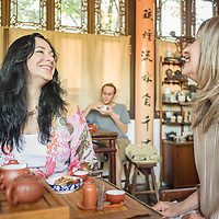 Sisters Kari Hendler and Bel-Ami Margoles enjoy music and tea in the Teahouse at the Lan Su Chinese garden in Portland. 2:43pm
