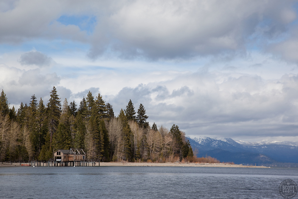 """Boat Dock on Lake Tahoe 8"" - This boat dock was photographed from a small fishing boat on the West shore of Lake Tahoe."