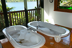 New Zealand, South Island: Hot tub spa at resort Lochmara Lodge near town of Picton on Marlborough Sounds. Photo copyright Lee Foster. Photo # newzealand125515
